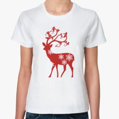 Классическая футболка Олени. Любовь. Новый год.
