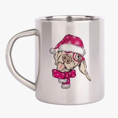 Кружка металлическая Собака Санта показывает язык