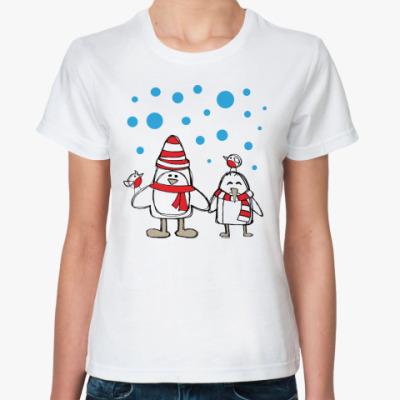 Классическая футболка Пингвины и снегири в Новый год