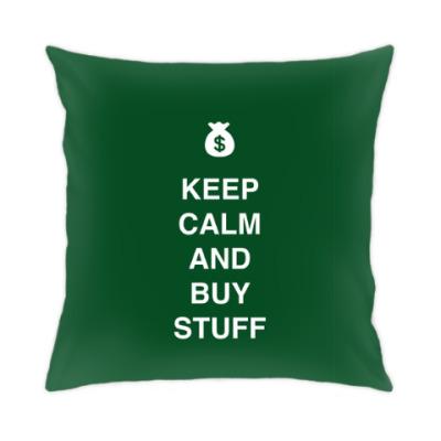 Подушка Keep calm and buy stuff