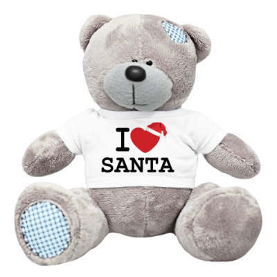 Плюшевый мишка Тедди Новогодний принт I Love Santa