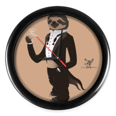Настенные часы Animal Fashion   S is for Sloth in Smoking