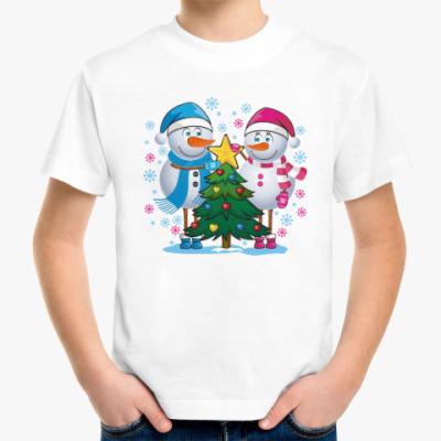 Детская футболка Парные. Снеговик. Любовь. Зима