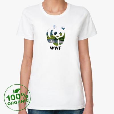 Женская футболка из органик-хлопка WWF. Панда. Природа