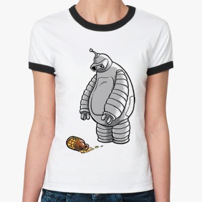 Женская футболка Ringer-T Робот и пиво