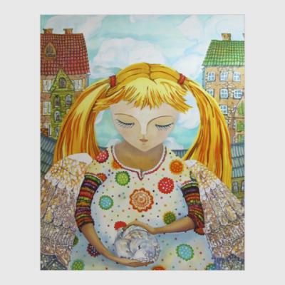 Постер Рыжая девочка с котиком