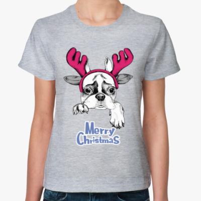Женская футболка Бульдог - Олень