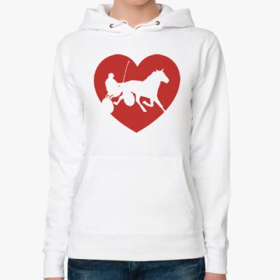 Женская толстовка худи I love horses! Люблю лошадей!