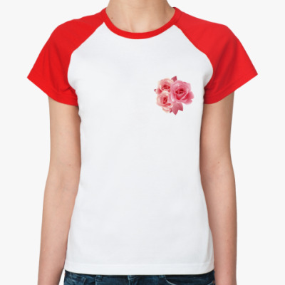 Женская футболка реглан розочки