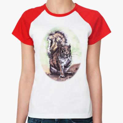 Женская футболка реглан Белочка