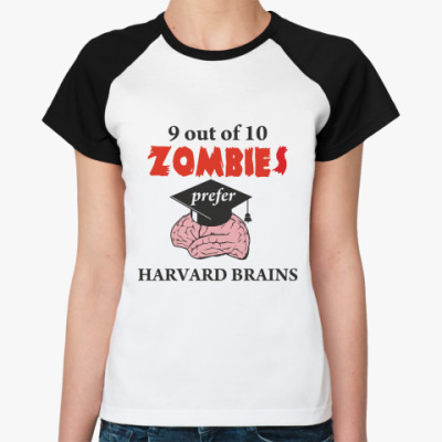 Женская футболка реглан Harvard brains