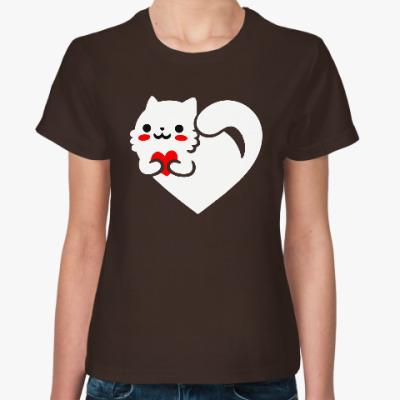 Женская футболка любовь кота