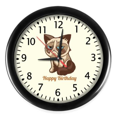 Настенные часы Угрюмый кот Тард - Grumpy Cat