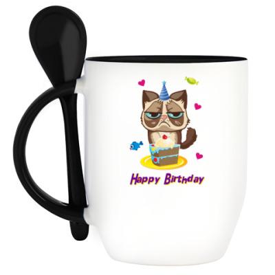 Кружка с ложкой Угрюмый кот Тард - Grumpy Cat
