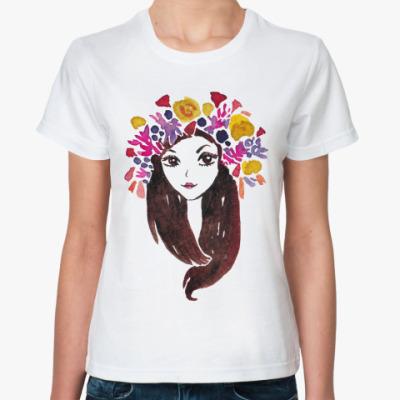 Классическая футболка Цветочная, счастливая