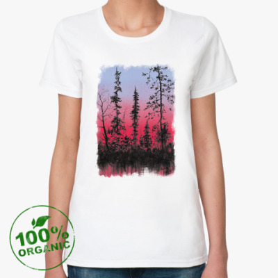 Женская футболка из органик-хлопка Лес на закате