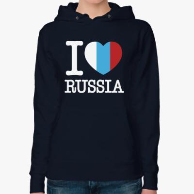 Женская толстовка худи i love Russia