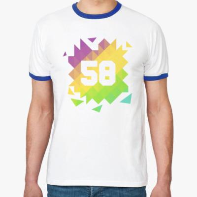 Футболка Ringer-T Цифра 58 (Low Poly)
