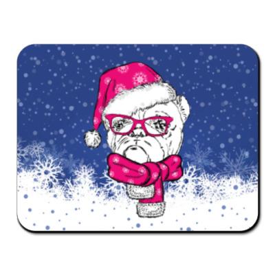 Коврик для мыши Бульдог Санта