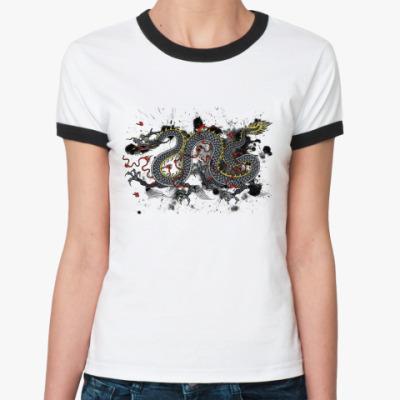 Женская футболка Ringer-T Чёрный дракон