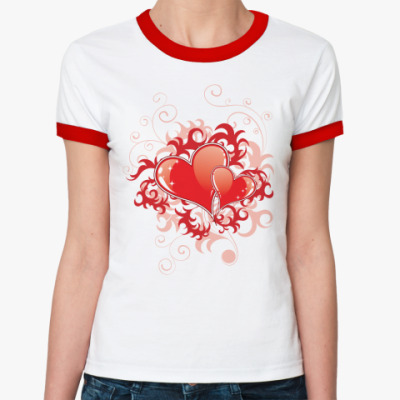 Женская футболка Ringer-T Два сердца