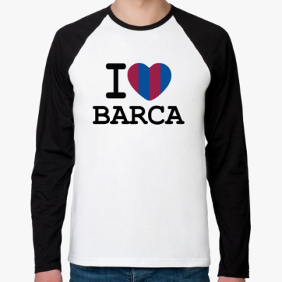 Футболка реглан с длинным рукавом I Love Barca