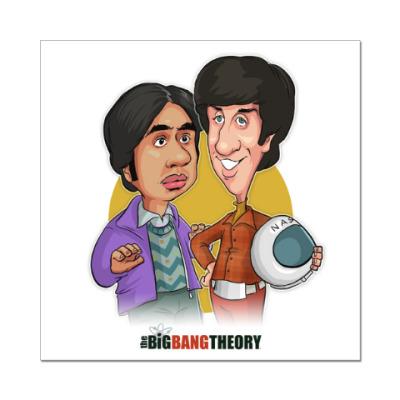 Наклейка (стикер) Раджеш и Говард. Теория Большого взрыва