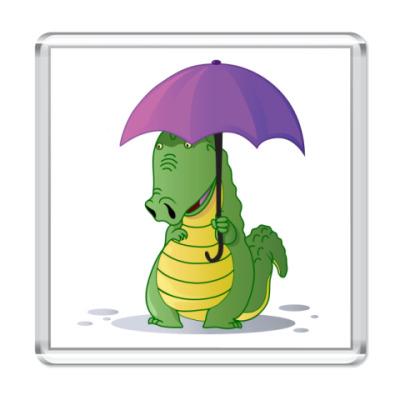 Магнит Крокодильчик с зонтиком