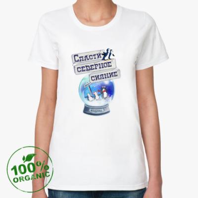 Женская футболка из органик-хлопка Елка на воде