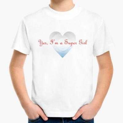 Детская футболка Yes, I'm a Super Girl. Крылья