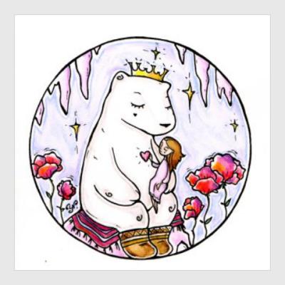 Постер Полярный медведь и девочка