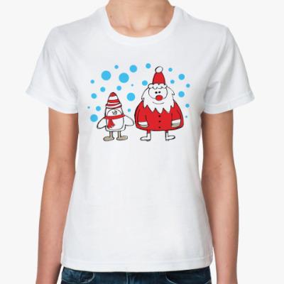 Классическая футболка Дед Мороз и Пингвин