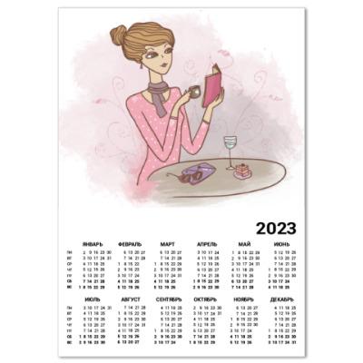 Календарь завтрак , кофе и пирожное