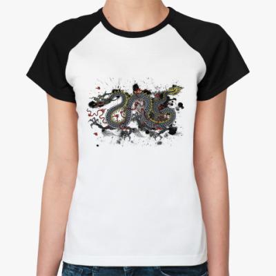 Женская футболка реглан Чёрный дракон