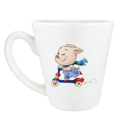 Чашка Латте Хрюндель на самокате