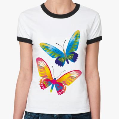Женская футболка Ringer-T Две бабочки