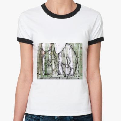 Женская футболка Ringer-T 'Чаепитие'