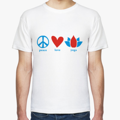 Футболка  'Peace, love, yoga'