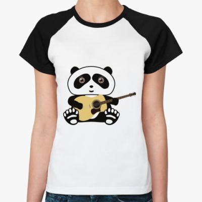 Женская футболка реглан Панда с гитарой