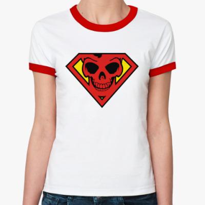 Женская футболка Ringer-T Skull Superman