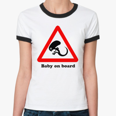 Женская футболка Ringer-T Ребенок на борту