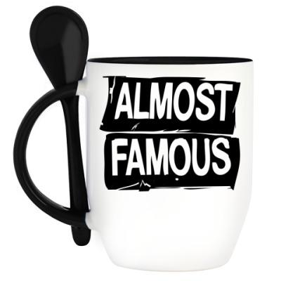 Кружка с ложкой Надпись ALMOST FAMOUS