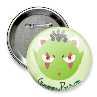 Значок 75мм Орки-green peace