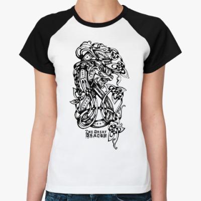 Женская футболка реглан Дракон Мерлина