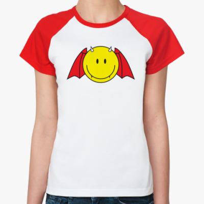 Женская футболка реглан   Смайл