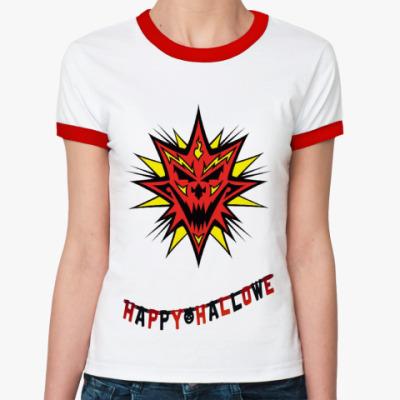 Женская футболка Ringer-T Happy Hallowe ()