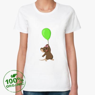 Женская футболка из органик-хлопка Мышка с шариком
