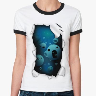Женская футболка Ringer-T 'Смайлы'