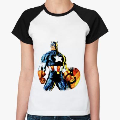 Женская футболка реглан Капитан Америка