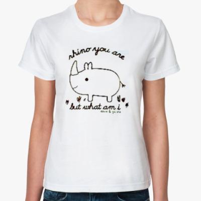 Классическая футболка  носорог